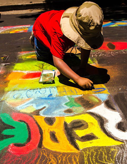 Image of a child street painter